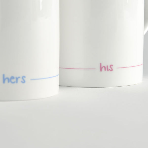 Hers and His Mugs - Set of 2 - Close Up
