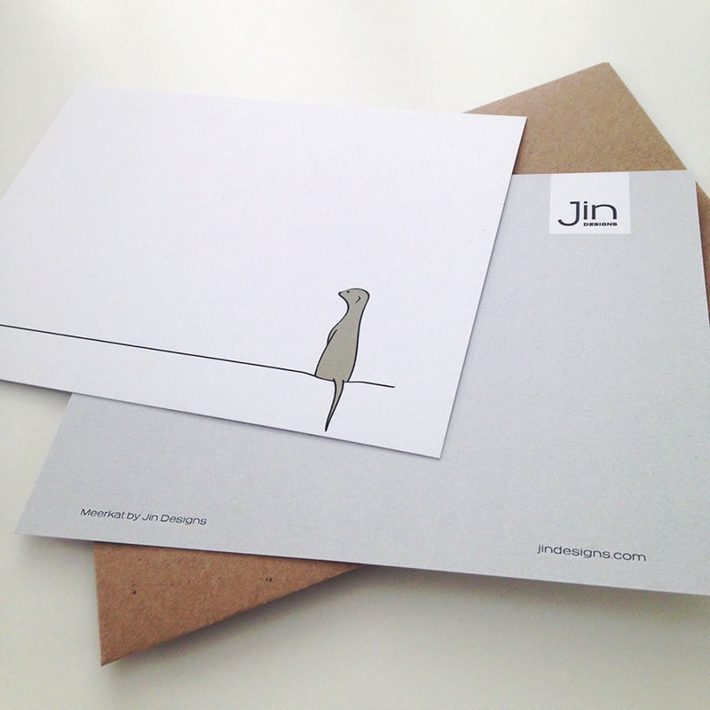 Meerkat Notecard Front and Reverse with Envelope