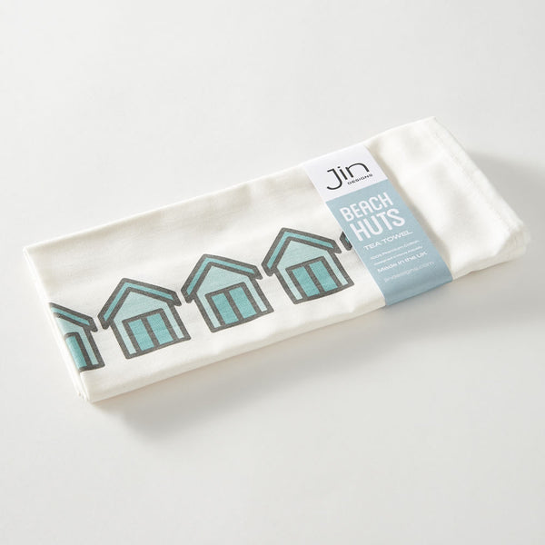 Beach Huts Tea Towel