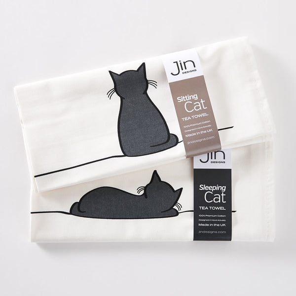 Sitting Cat and Sleeping Cat Tea Towels - Set of 2