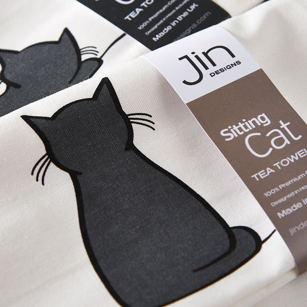 Sitting Cat and Sleeping Cat Tea Towels Close-up