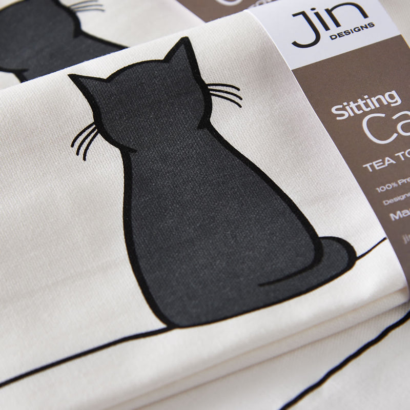 Sitting Cat Tea Towel Close Up
