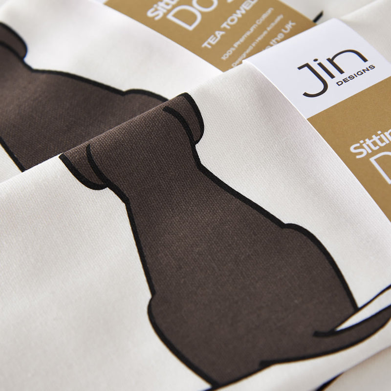 Sitting Dog Tea Towel Close Up