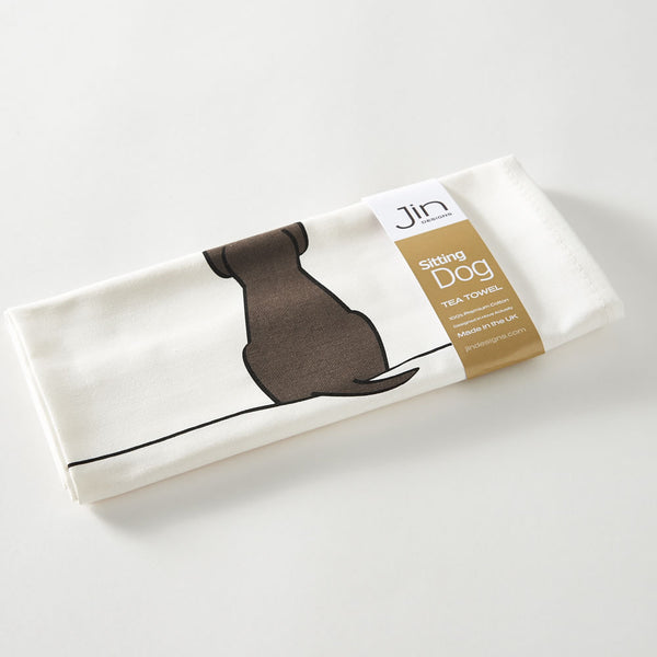 Sitting Dog Tea Towel