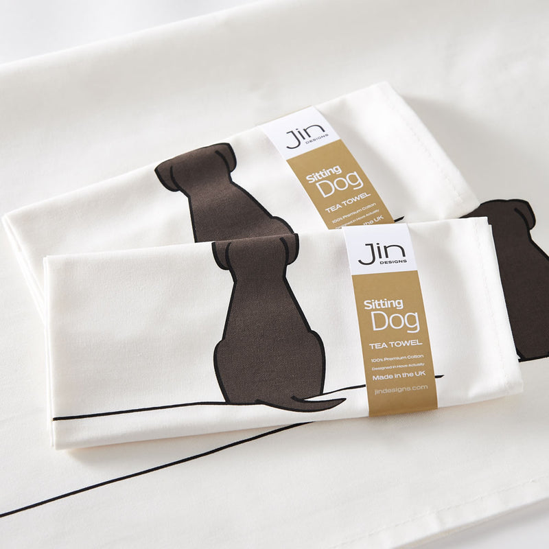 Sitting Dog Tea Towels