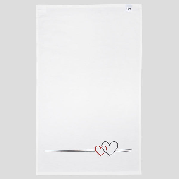 Two Hearts Tea Towel