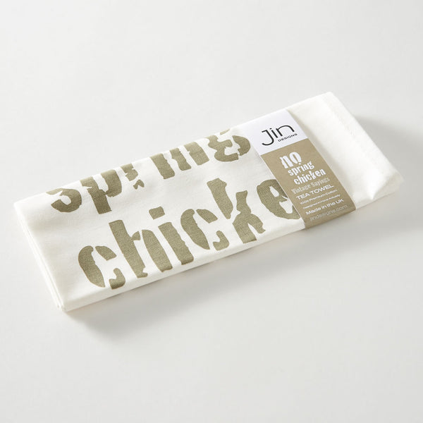 No Spring Chicken Tea Towel with Packaging