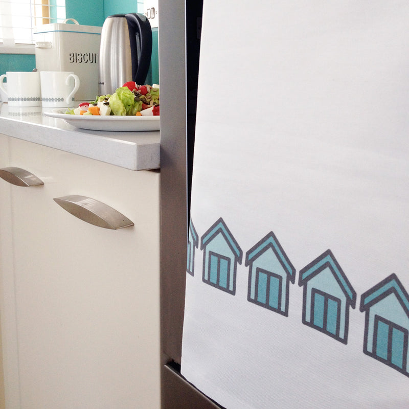 Beach Huts Tea Towel in the Kitchen