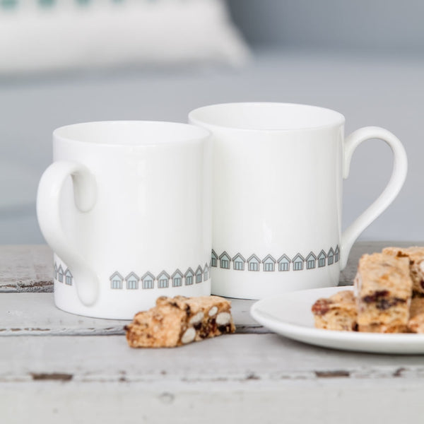 Beach Huts Mugs with Biscotti