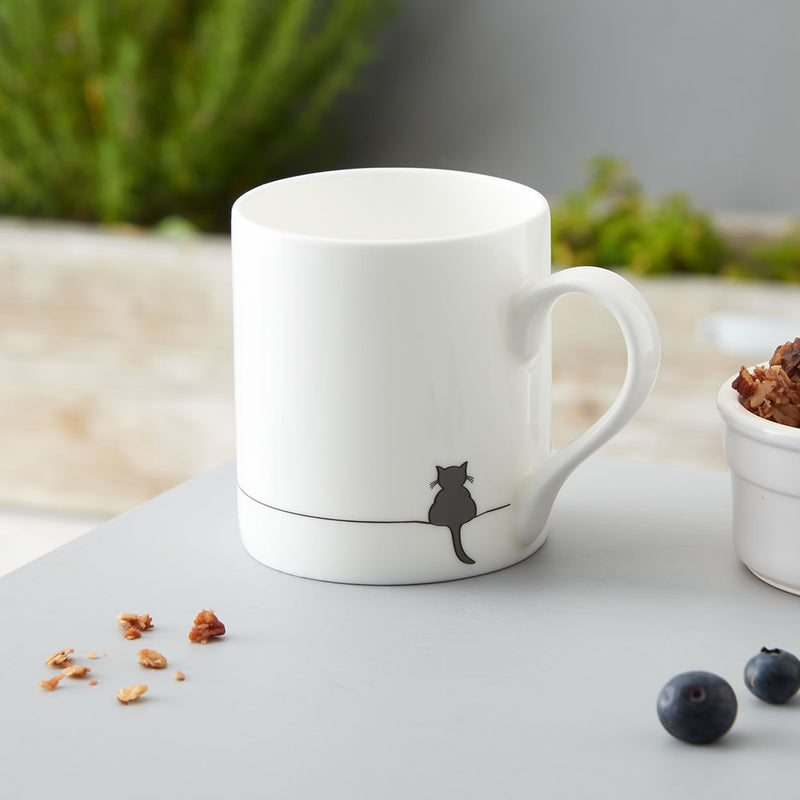Crouching Cat Mug, Fine Bone China
