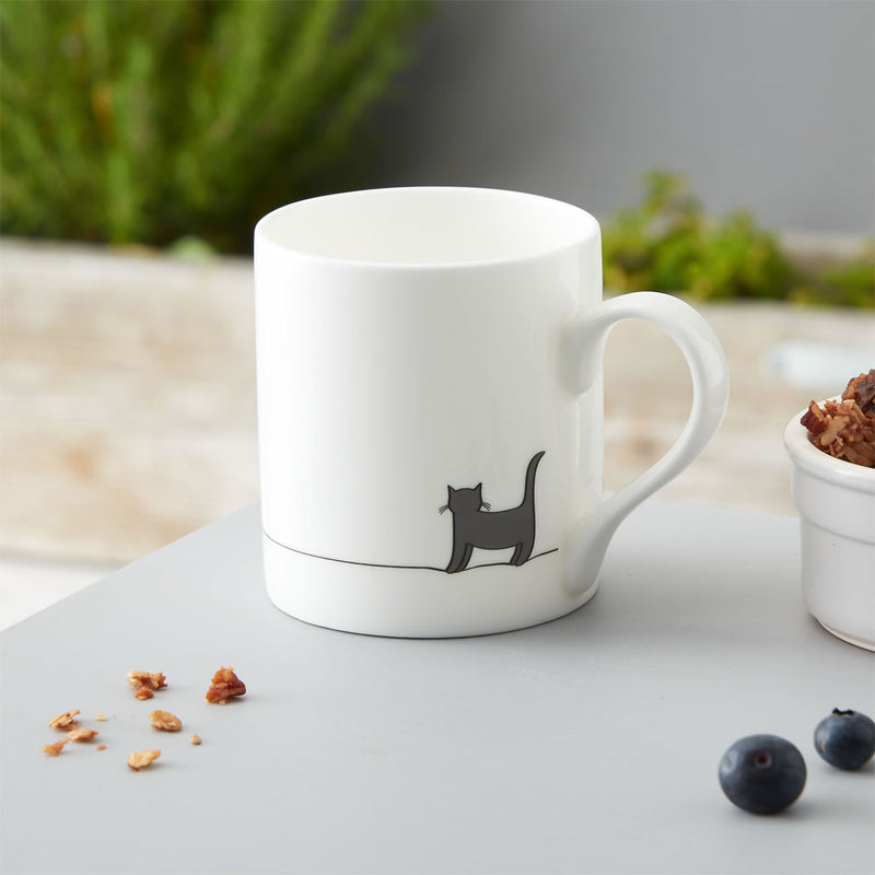 Standing Cat Mug, Fine Bone China