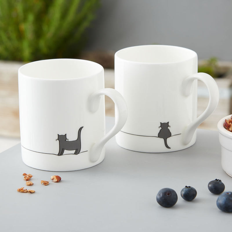 Standing Cat & Crouching Cat Mugs, Set of Two
