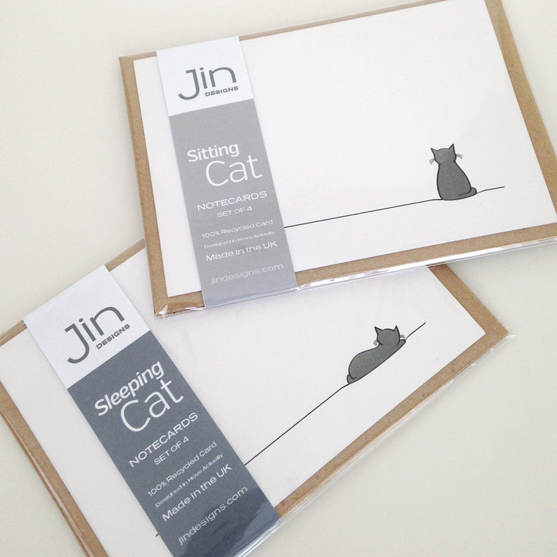 Sitting Cat and Sleeping Cat Notecard Packs