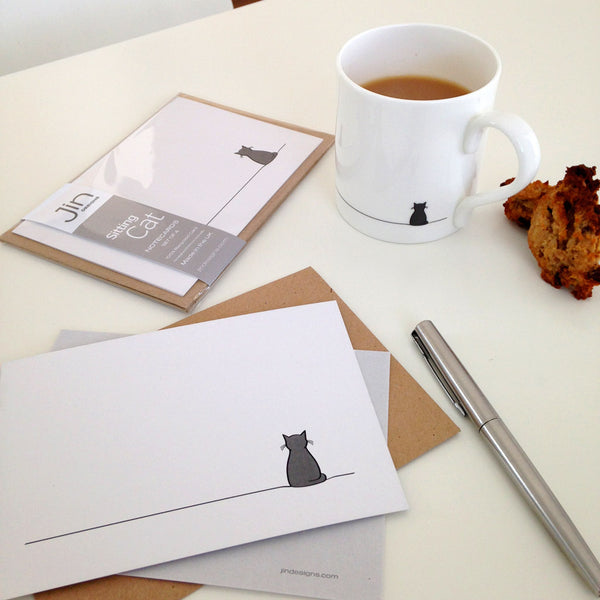 Sitting Cat Notecards with Tea and Cakies