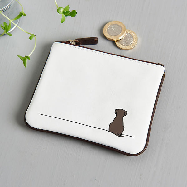 Sitting Dog Leather Purse