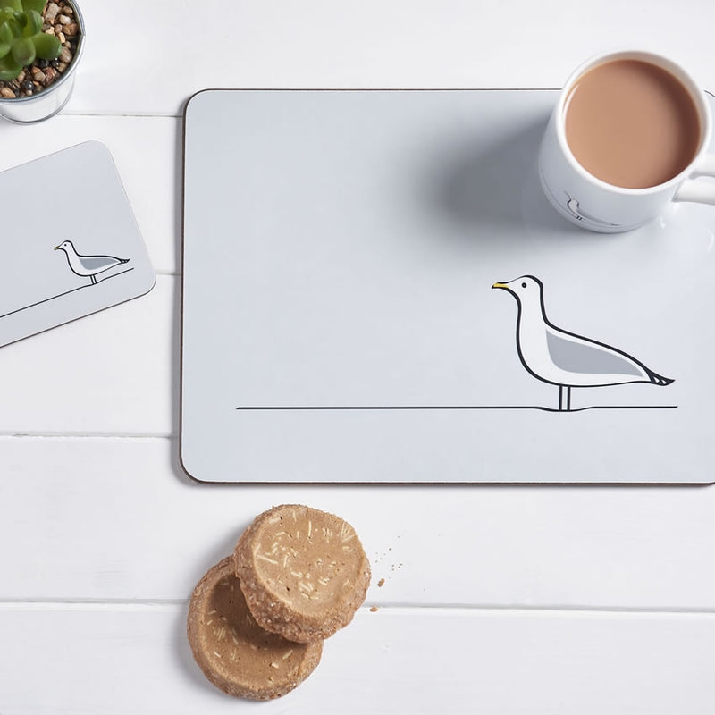 Seagull Placemat with Tea and Biscuits