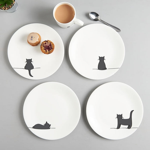 Cat Plates, Set of Four