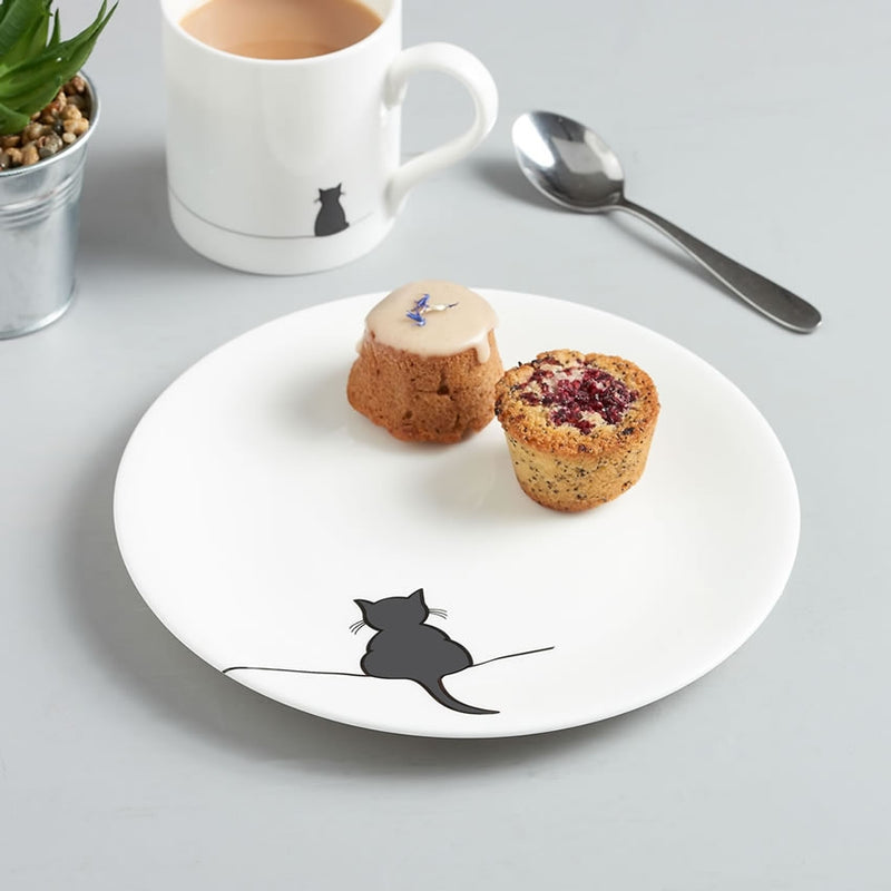Crouching Cat Side Plate with Cake