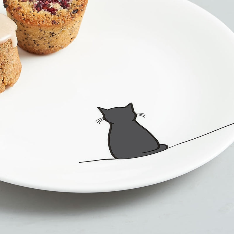 Sitting Cat Side Plate Close Up