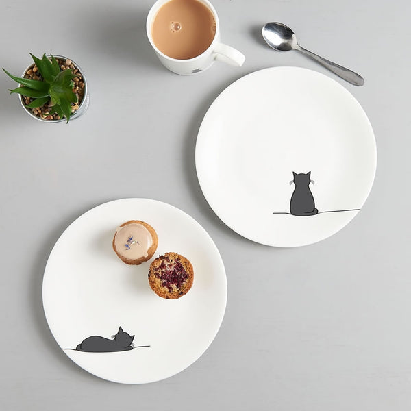 Sitting Cat and Sleeping Cat Side Plates, Set of Two