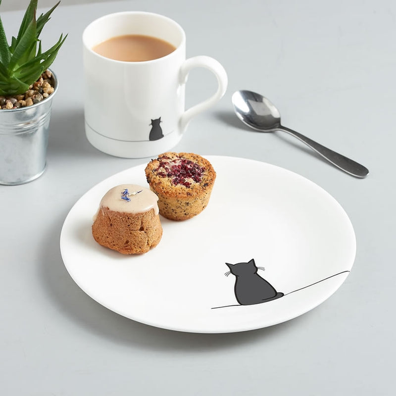 Sitting Cat Side Plate with Cake