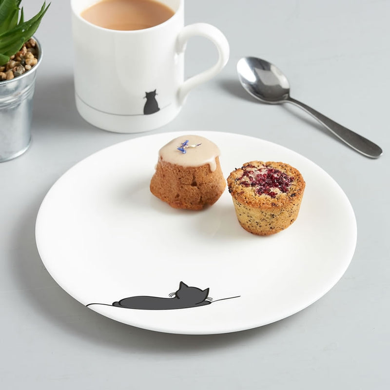 Sleeping Cat Plate with Cake