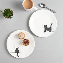 Standing Cat and Crouching Cat Side Plates, Set of Two
