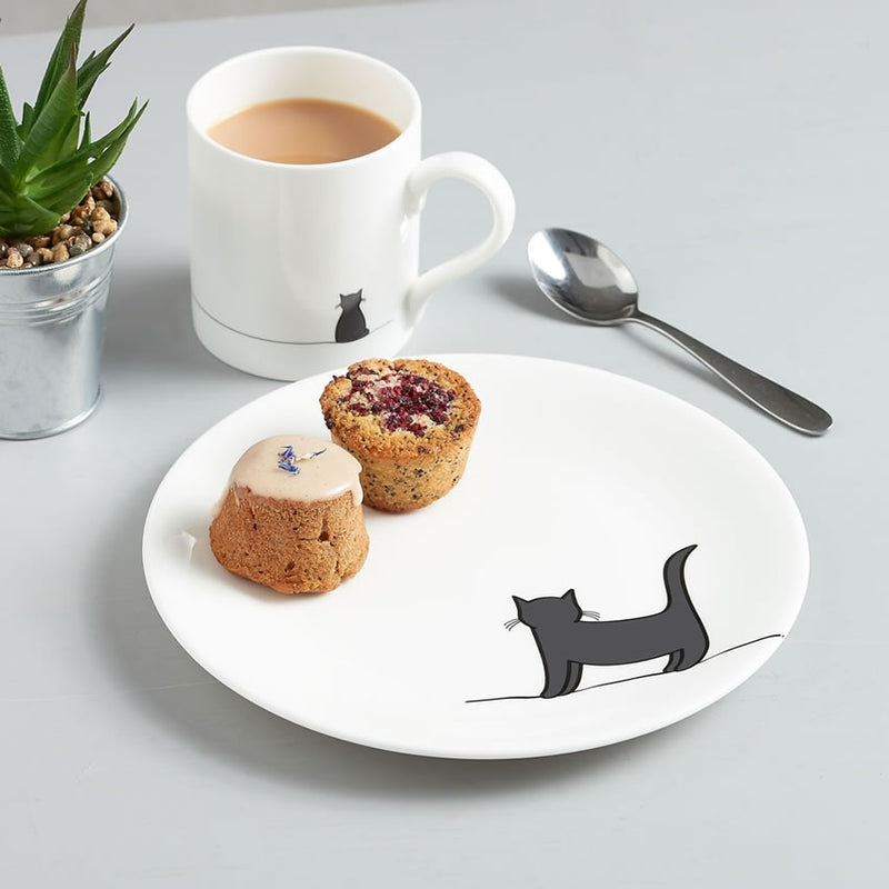 Standing Cat Side Plate with Cake