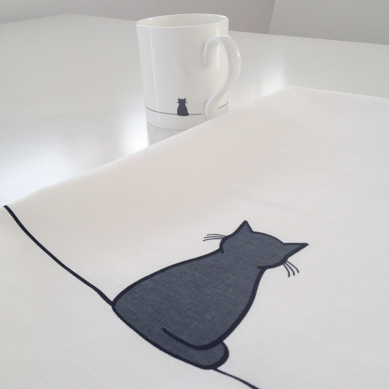 Sitting Cat Tea Towel with Mug
