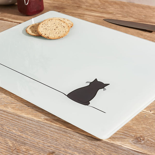 Sitting Cat Glass Chopping Board