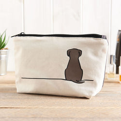 Sitting Dog Zip Bag - Makeup Bag, Washbag, Travel Bag, Pencil Case