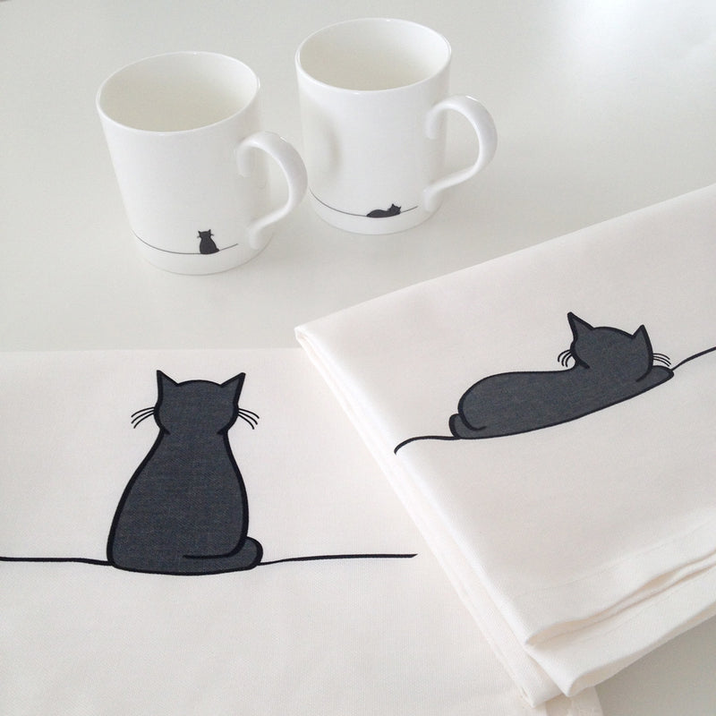 Sitting Cat and Sleeping Cat Tea Towels - with fine bone china mugs