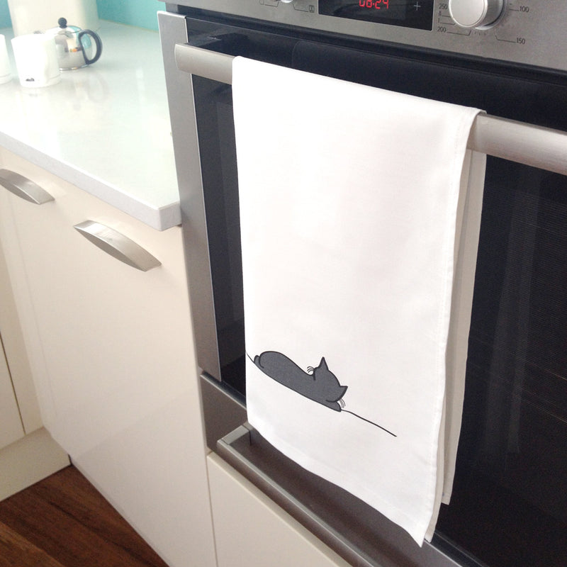 Sleeping Cat Tea Towel in the Kitchen