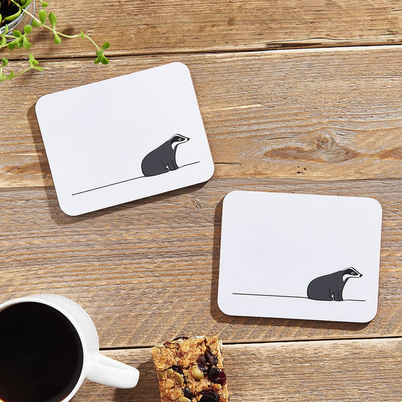 Badger Coasters with Morning Coffee
