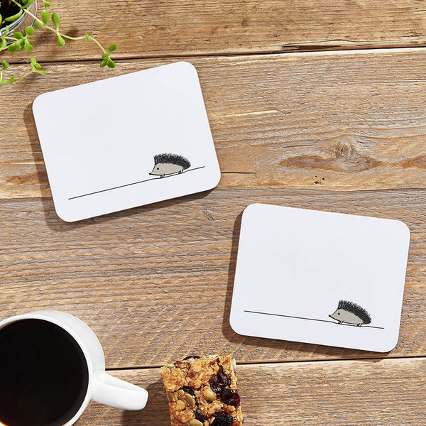 Hedgehog Coasters with Morning Coffee