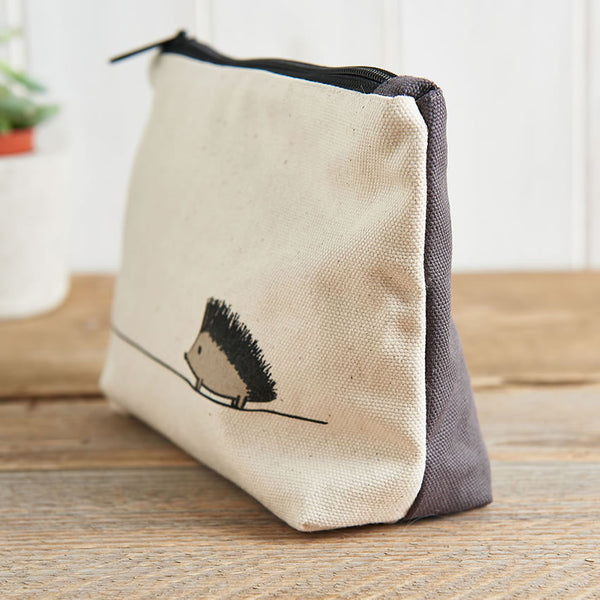 Hedgehog Zip Bag with contrasting grey canvas on reverse