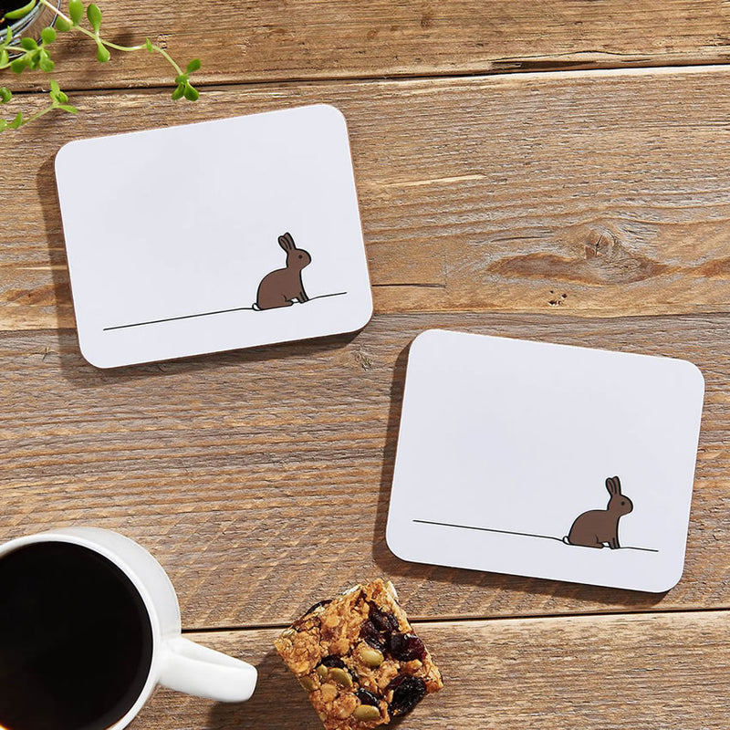 Rabbit Coasters, Set of 2, with Morning Coffee and Granola Bar