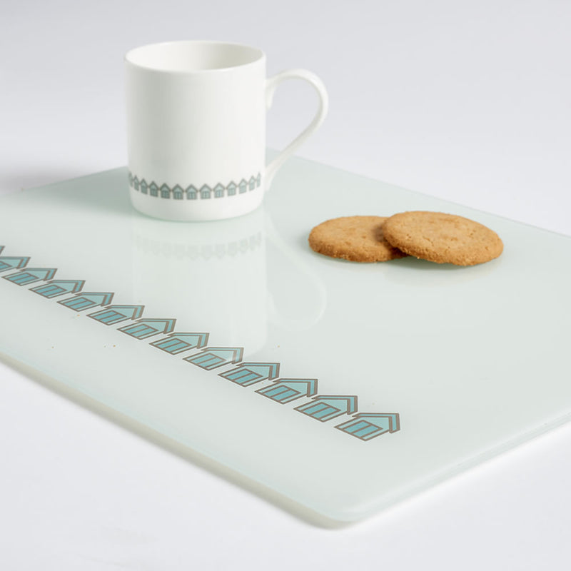 Beach Huts Worktop Saver with Mug and Biscuits