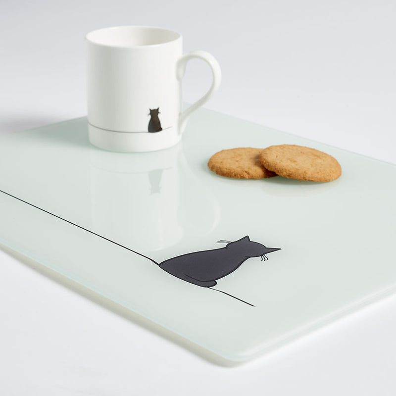 Sitting Cat Worktop Saver with Mug and Biscuits