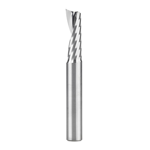 51414 Solid Carbide CNC Spiral 'O' Single Flute, Plastic Cutting 3/8 Dia x 1-1/8 x 3/8 Shank x 3 Inch Long Up-Cut Router Bit