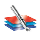51419 Solid Carbide CNC Spiral 'O' Single Flute, Plastic Cutting 1/4 Dia x 5/8 x 1/4 Shank x 2 Inch Long Up-Cut Router Bit