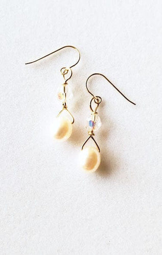 14 Karat Gold White Pearl French Wires
