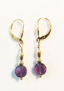 Amethyst Coin Lever Back Earrings