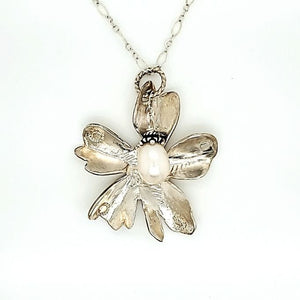 Sterling Silver Cast Flower Necklace