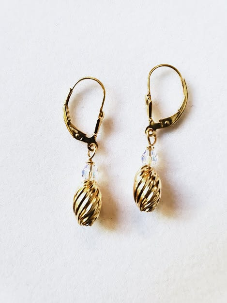 Golden Swirl Lever Back Earrings