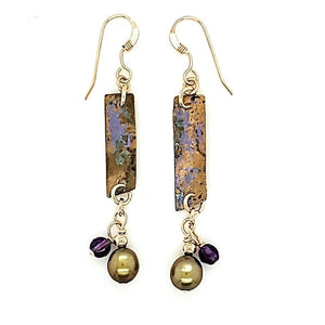 Amethyst Patina French Wire Drop Earrings