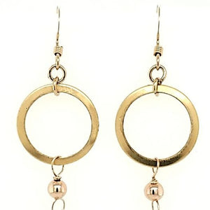 Pearl Brass Hoop Drop Earrings