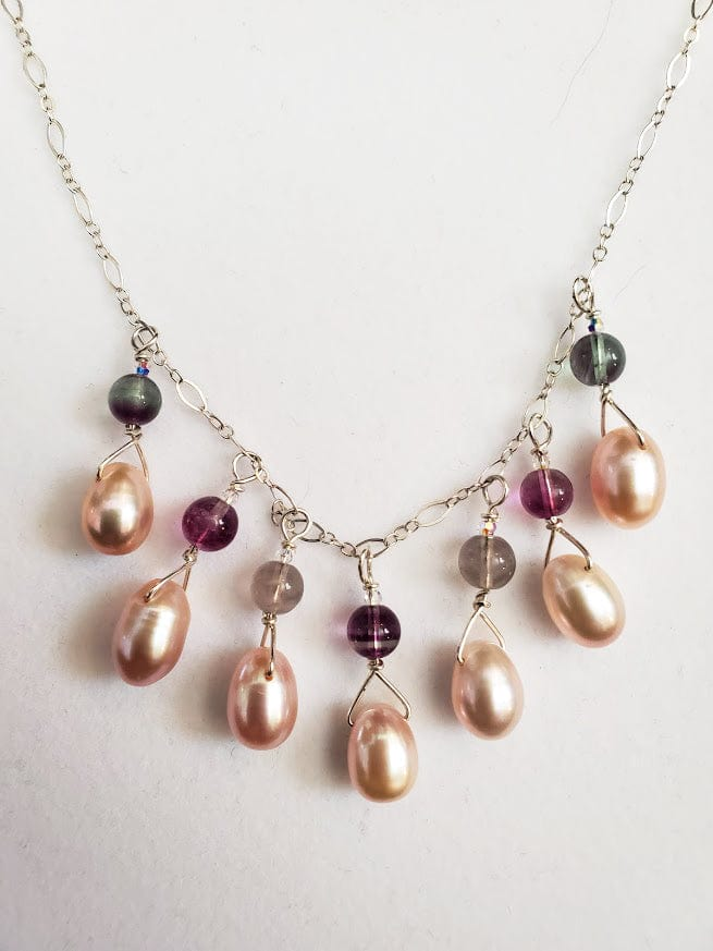 Pearl Flourite Sterling Silver Necklace