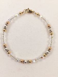Yellow, Rose & Sterling Silver Swarovski Crystal Bracelet
