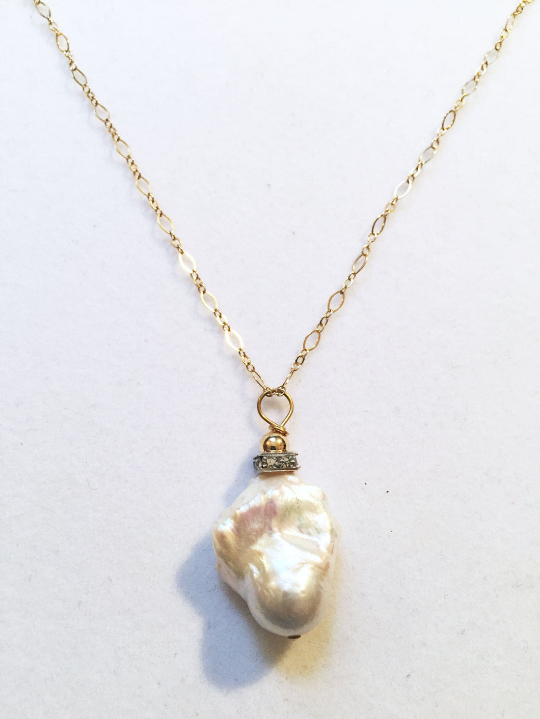 Baroque Pearl Necklace With Gold Chain